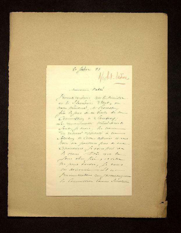 Visuel du media #4 - Lettre de Viollet-le-Duc à De La Croix du 20 février 1883, page 1