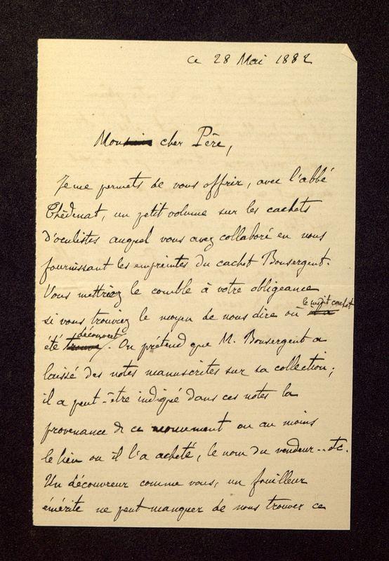 Visuel du media #5 - Lettre de Héron de Villefosse à De La Croix du 28 mai 1882, page 1