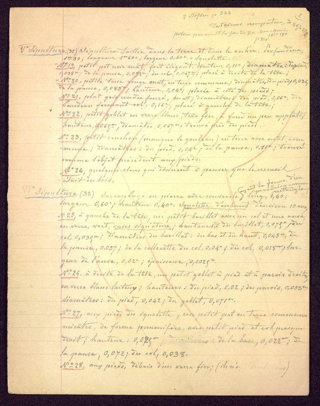 Visuel du media #8 - Notes sépultures, Hypogée des Dunes, page 1