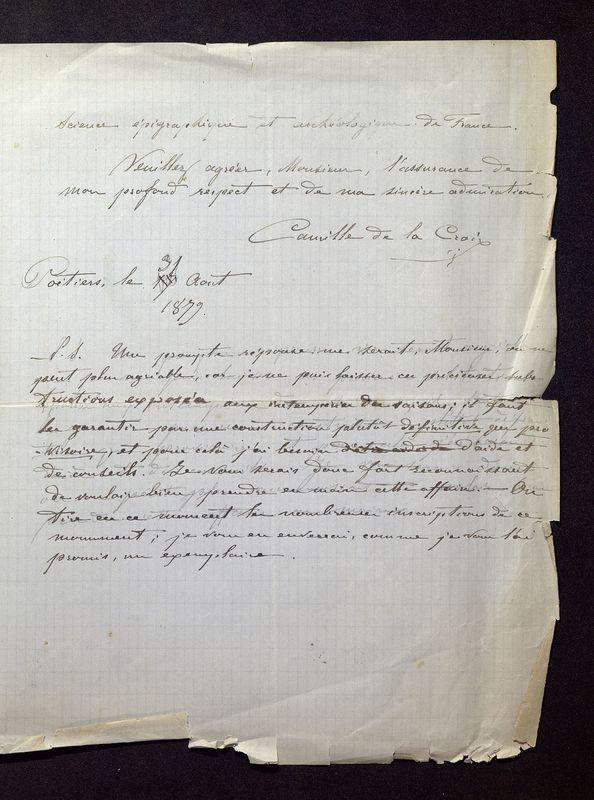 Visuel du media #3 - Lettre de De La Croix à Quicherat du 31 août 1879, page 3