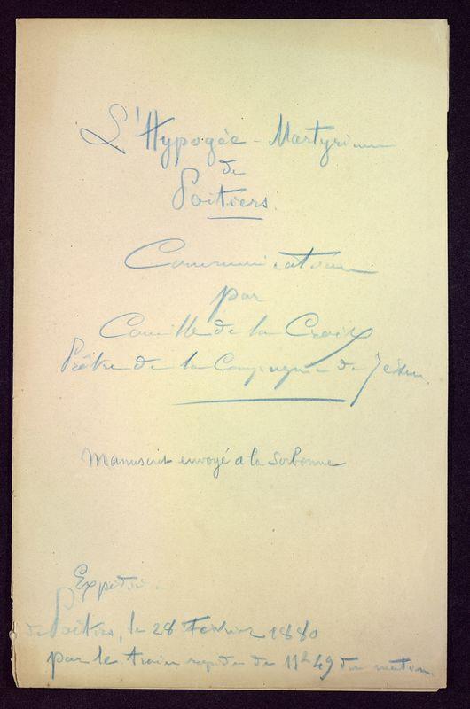 Visuel du media #1 - L'Hypogée-Martyrium de Poitiers, page 1