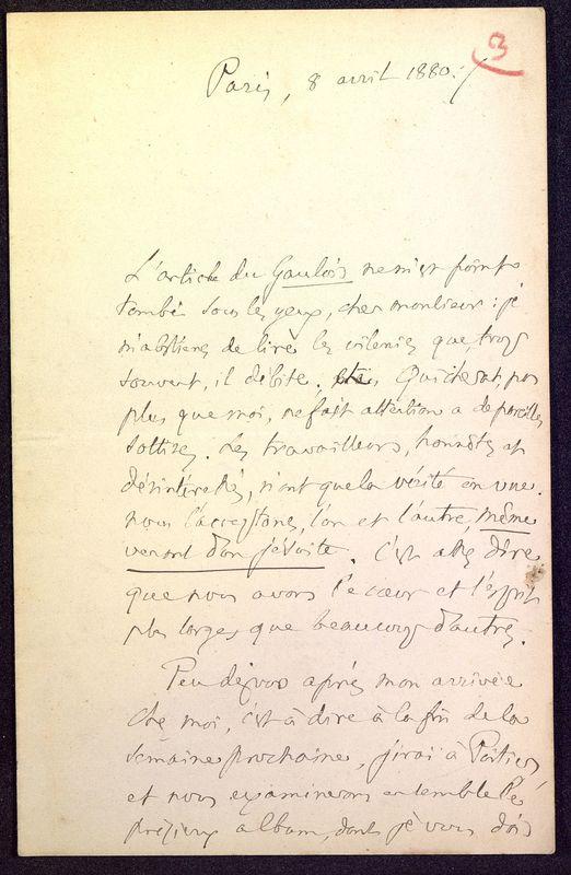 Visuel du media #12 - Lettre de Fillon à De La Croix du 08 avril 1880, page 1