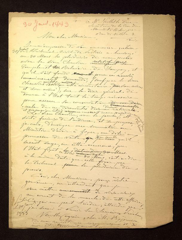 Visuel du document Correspondance avec Eugène-Louis Viollet-le-Duc (1883-1884)