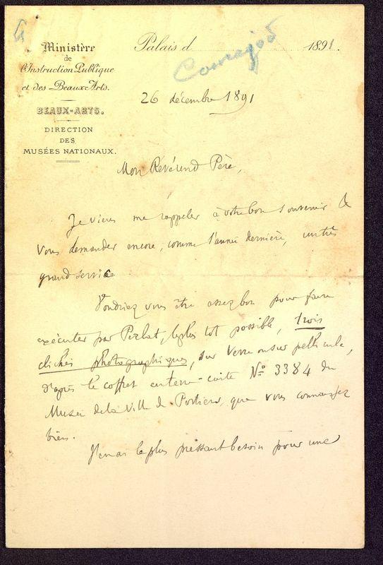 Visuel du media #8 - Lettre de Courajod à De La Croix du 26 décembre 1891, page 1