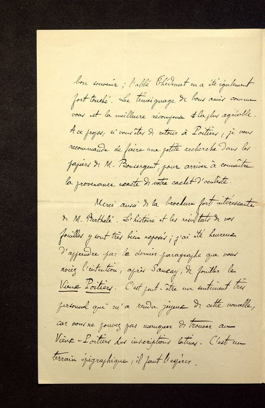 Visuel du media #12 - Lettre de Héron de Villefosse à De La Croix du 25 juillet 1882, page 2