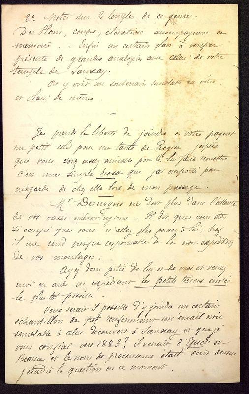 Visuel du media #8 - Lettre de Dumuÿs à De La Croix du 02 novembre 1886, page 4