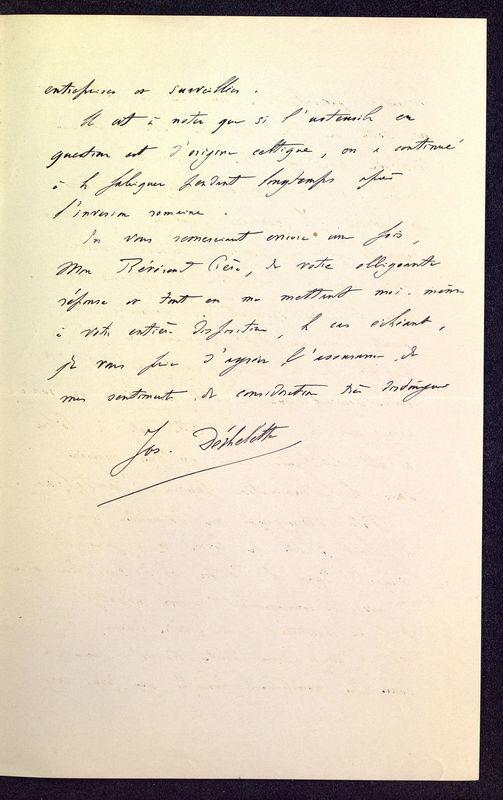Visuel du media #7 - Lettre de Déchelette à De La Croix du 07 mars 1898, page 3