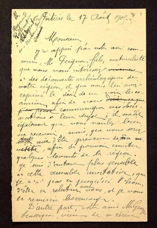 Visuel du media #3 - Lettre de De La Croix à Rollinat du 17 août 1905, page 1