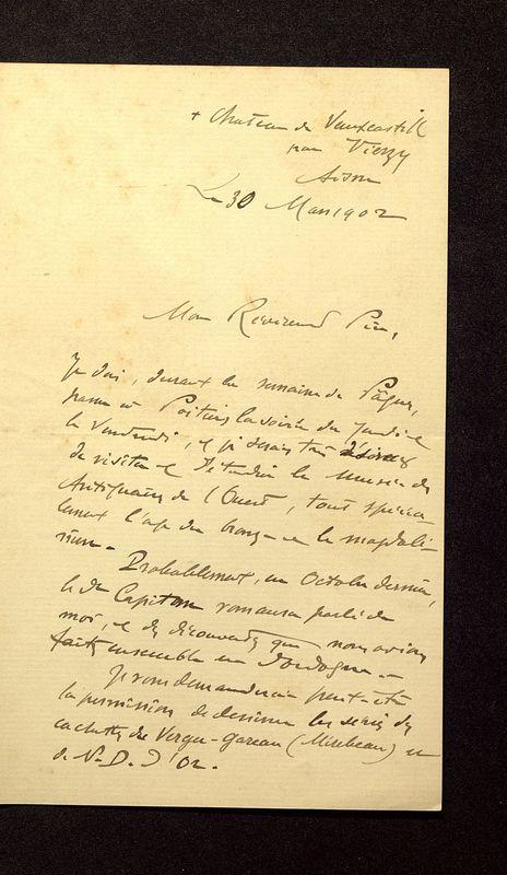 Visuel du media #1 - Lettre de Breuil à De La Croix du 30 mars 1902, page 1
