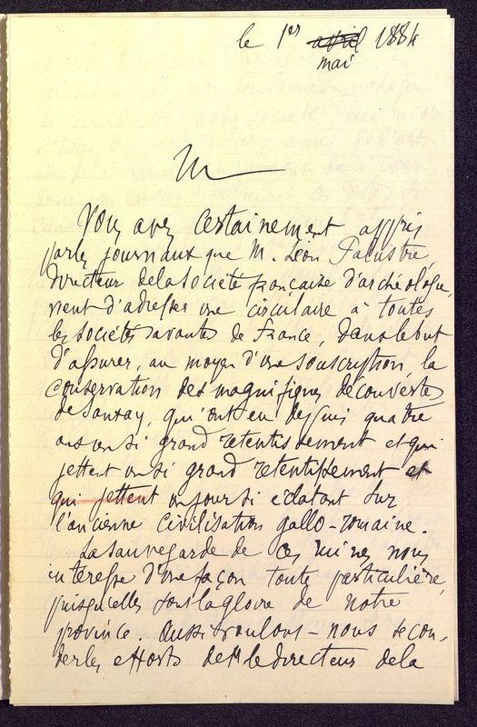 Visuel du media #12 - Lettre de Berthelé à De La Croix du 16 mai 1884, page 6