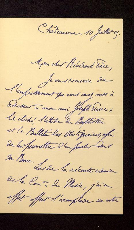 Visuel du media #7 - Lettre de Lenseigne à De La Croix du 10 juillet 1905, page 1