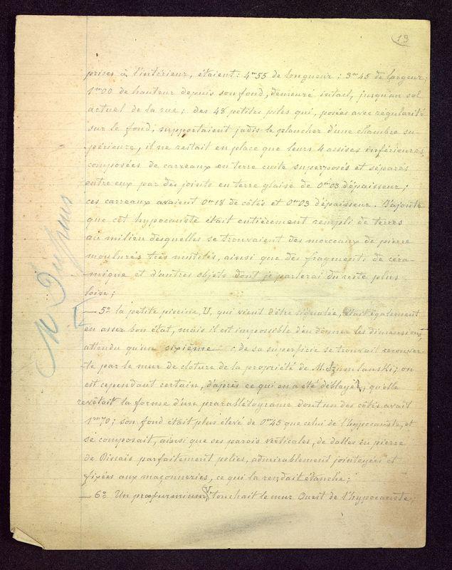 """Visuel du media #10 - Brouillon du manuscrit """"Les fouilles de la rue Paul Bert à Poitiers"""", page 1"""