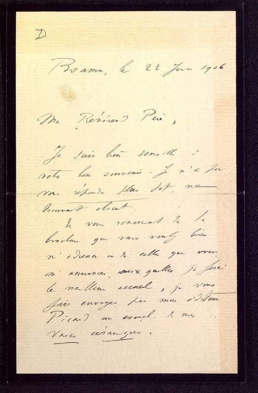 Visuel du media #11 - Lettre de Déchelette à De La Croix du 22 juin 1906, page 1