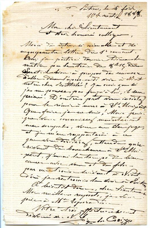 Visuel du media #3 - Lettre de De La Croix à Espérandieu du 04 février 1888