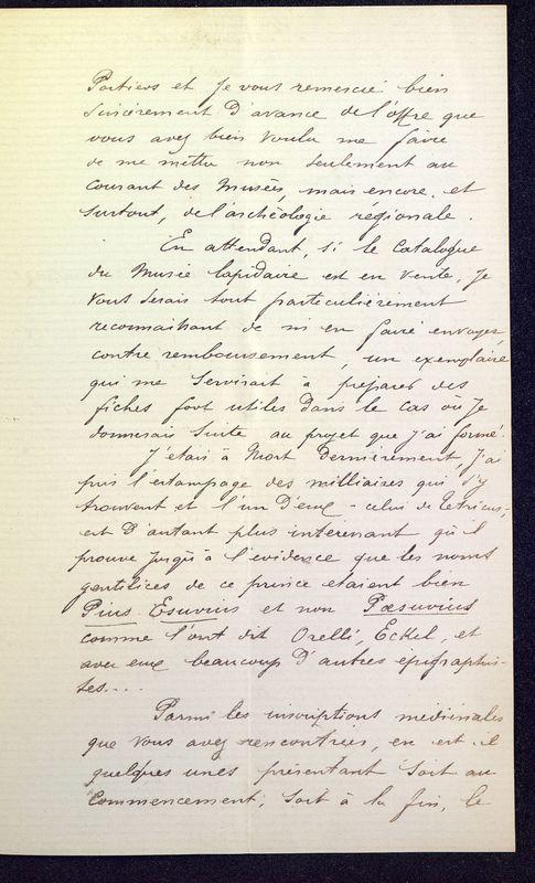 Visuel du media #11 - Lettre de Espérandieu à De La Croix de 1886, page 4