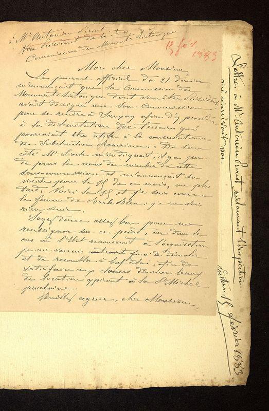 Visuel du media #3 - Lettre de Viollet-le-Duc à De La Croix du 02 mars 1883, page 2