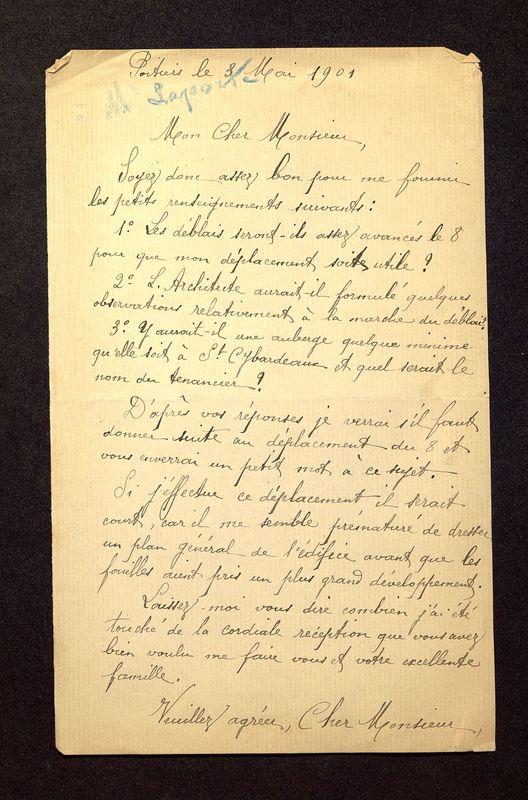 Visuel du media #7 - Lettre de De La Croix à Laporte-Bisquit du 03 mai 1901, page 1
