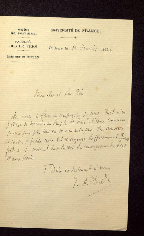 Visuel du media #12 - Lettre de Hild à De La Croix du 16 janvier 1896, page 1