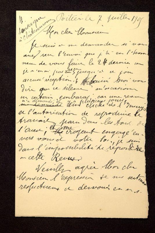 Visuel du document Correspondance avec Georges Lenseigne (1905-1908)