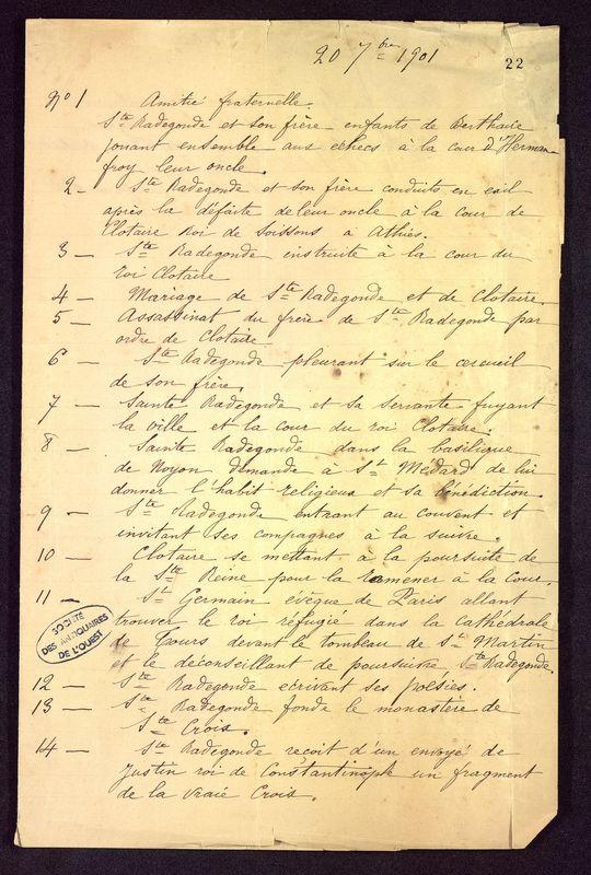 Visuel du media #6 - Notes Sainte-Radegonde 20 septembre 1901, page 1