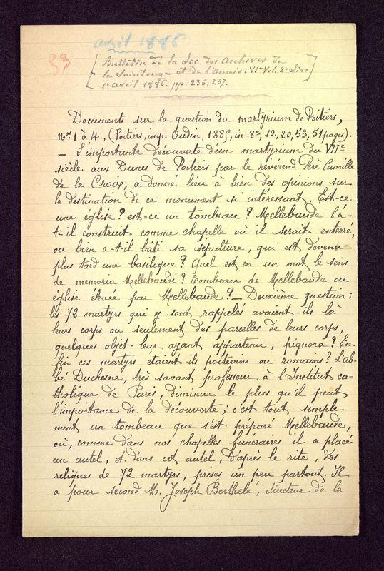 Visuel du media #1 - Documents sur la question du Martyrium de Poitiers n°1 à 4, page 1