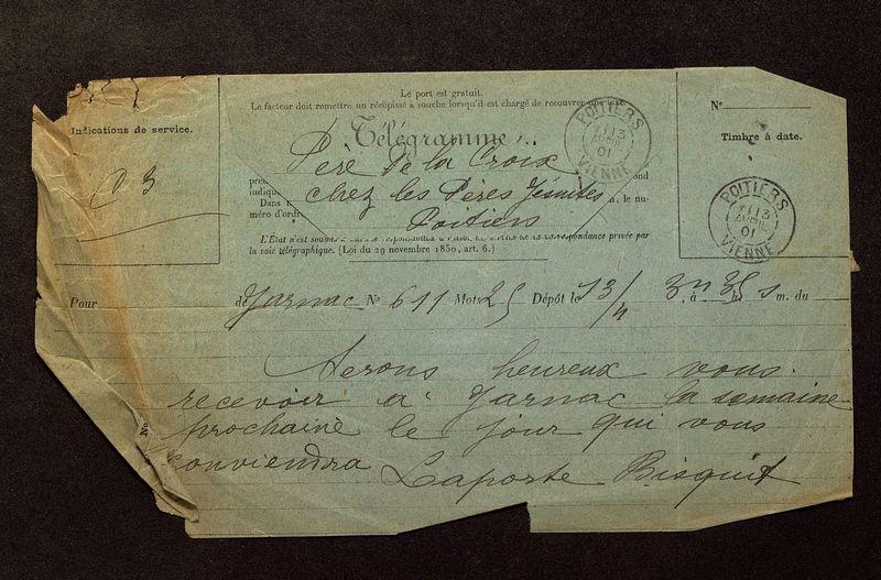 Visuel du media #5 - Télégramme de Laporte-Bisquit à De La Croix du 13 avril 1901
