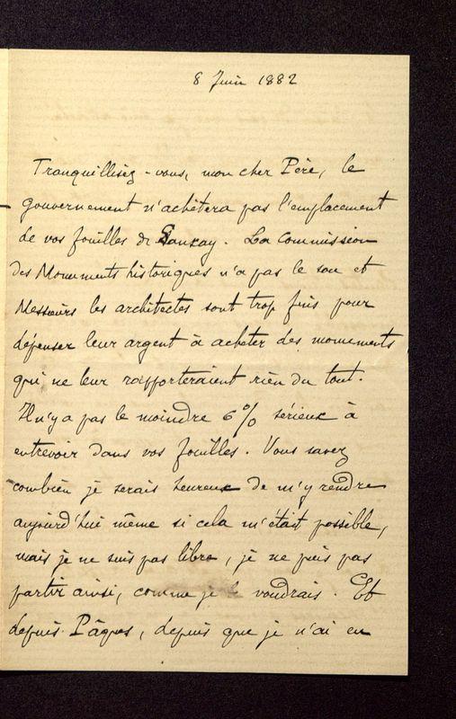 Visuel du media #7 - Lettre de Héron de Villefosse à De La Croix du 08 juin 1882, page 1