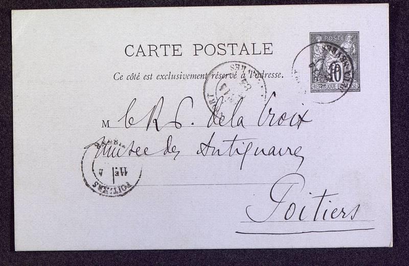 Visuel du media #1 - Carte postale de Berthelé à De La Croix du 14 mars 1884, page 1