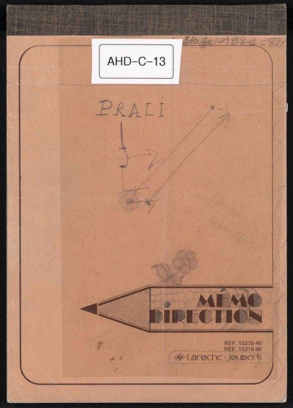 Visuel du document Notes et entretiens sur le mode de vie dans la région de Prali, 1981-1982