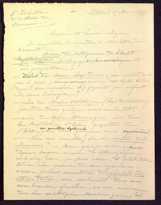 Visuel du media #3 - Brouillon de lettre de De La Croix à Déchelette du 05 mars 1898, page 1