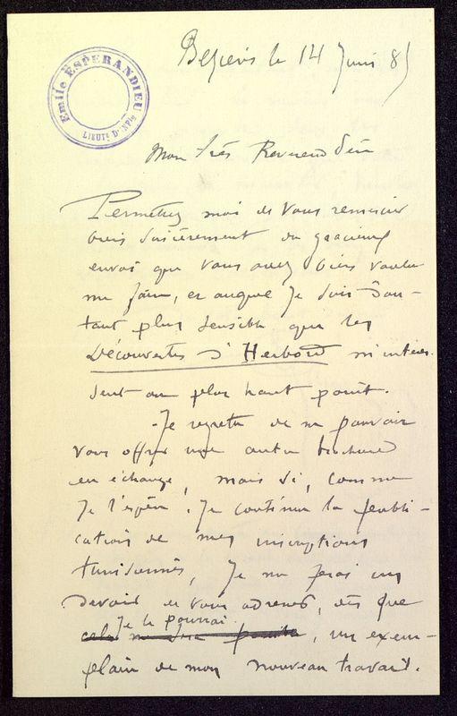 Visuel du media #3 - Lettre de Espérandieu à De La Croix du 14 juin 1885, page 1