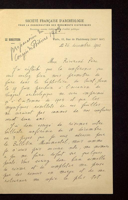Visuel du media #6 - Lettre de Lefèvre-Pontalis à De La Croix du 26 décembre 1902, page 1