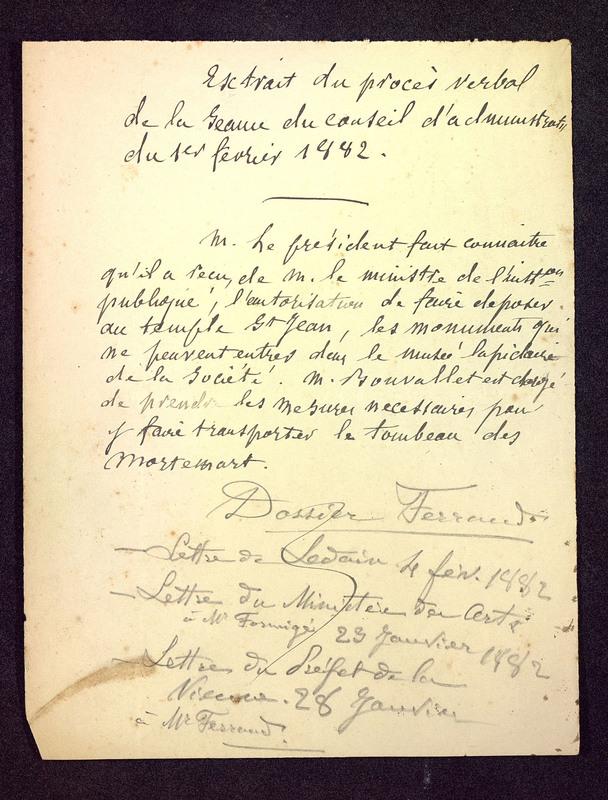 Visuel du media #2 - Extrait PV séance conseil d'administration 01/02/1882, page 1