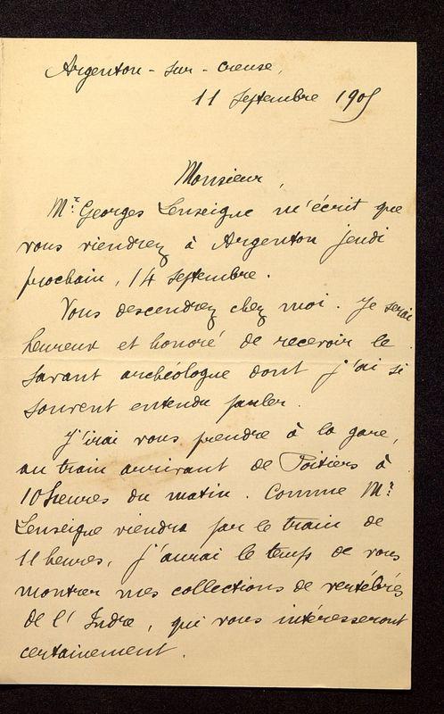 Visuel du media #8 - Lettre de Rollinat à De La Croix du 11 septembre 1905, page 1