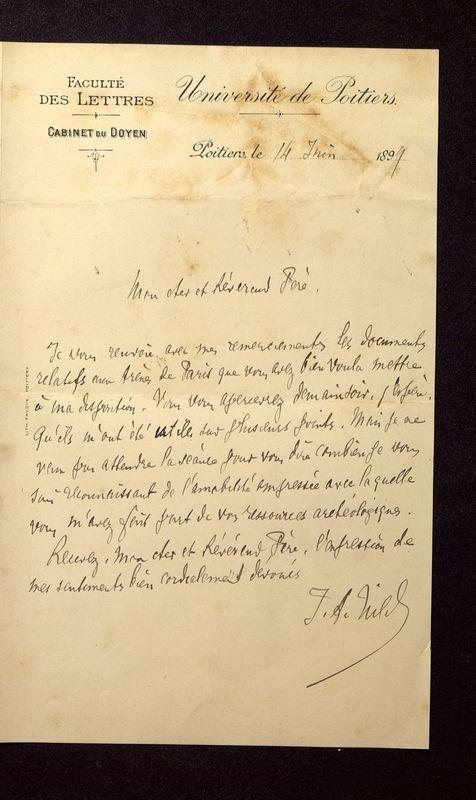 Visuel du media #6 - Lettre de Hild à De La Croix du 14 juin 1899