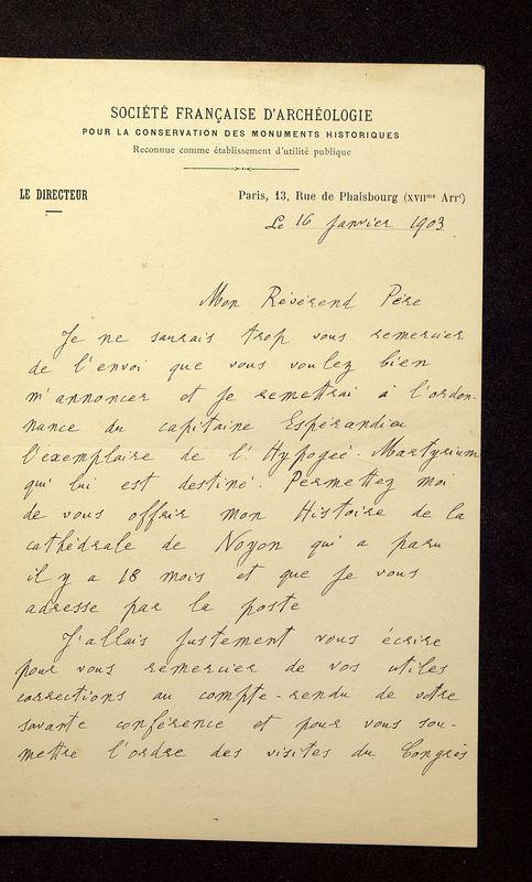 Visuel du media #11 - Lettre de Lefèvre-Pontalis à De La Croix du 16 janvier 1903, page 1