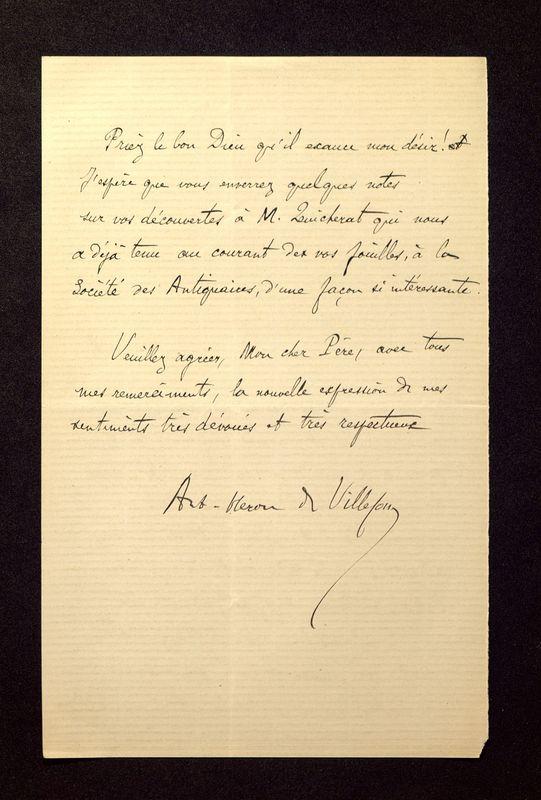 Visuel du media #4 - Lettre de Héron de Villefosse à De La Croix du 27 juin 1881, page 2