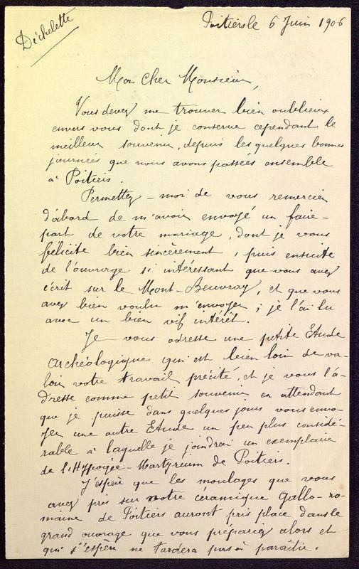 Visuel du media #9 - Brouillon de lettre de De La Croix à Déchelette du 06 juin 1906, page 1