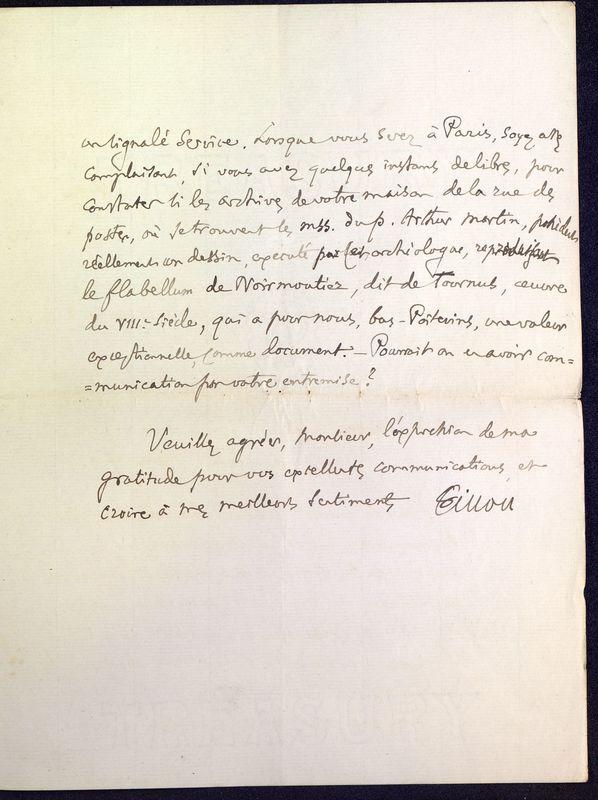 Visuel du media #11 - Lettre de Fillon à De La Croix du 14 novembre 1879, page 11