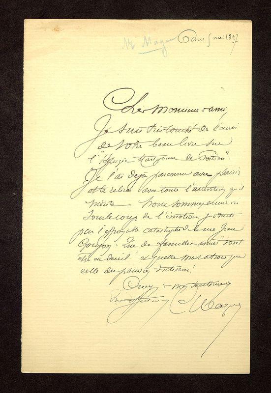 Visuel du media #2 - Lettre de De La Croix à Magne du 08 mai 1897