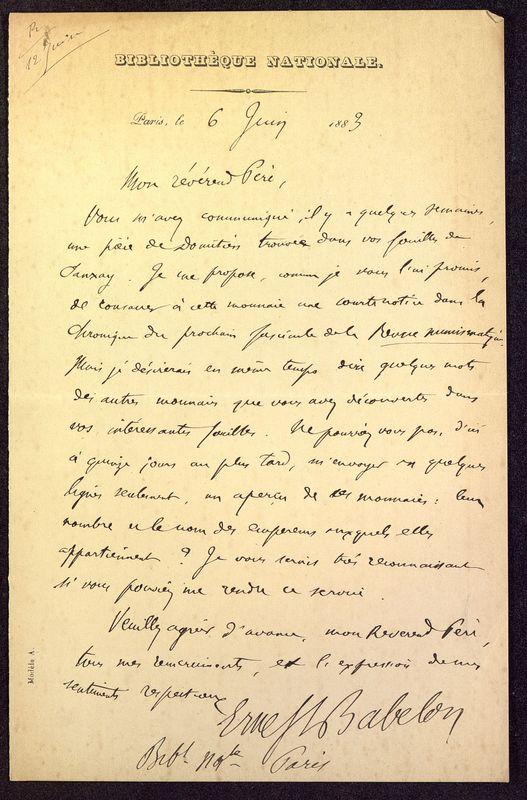 Visuel du media #1 - Lettre de Babelon à De La Croix du 06 juin 1883