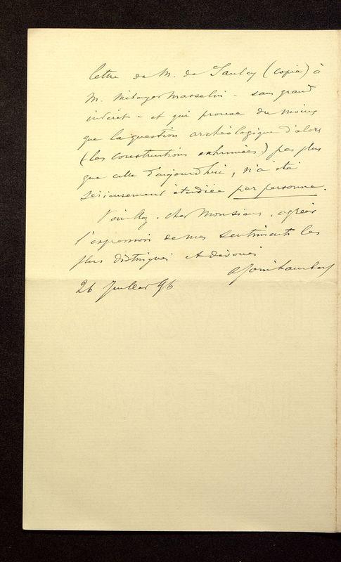 Visuel du media #11 - Lettre de Join-Lambert à De La Croix du 26 juillet 1896, page 4