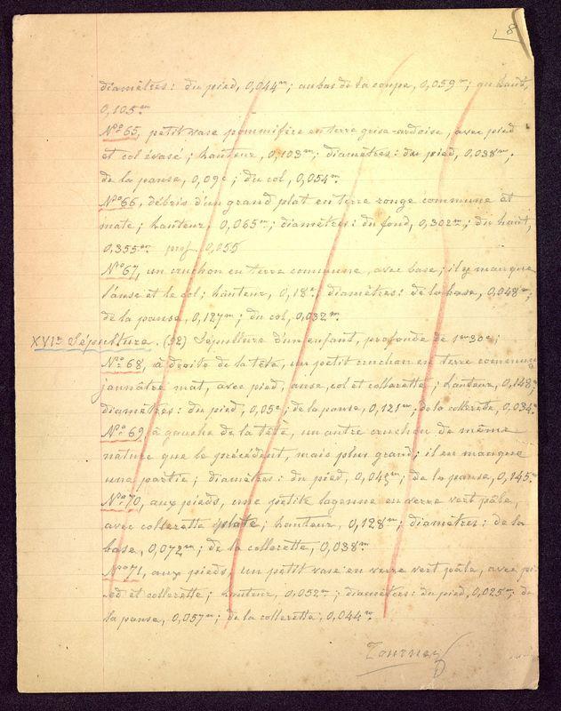 Visuel du media #11 - Notes sépultures, Hypogée des Dunes, page 1