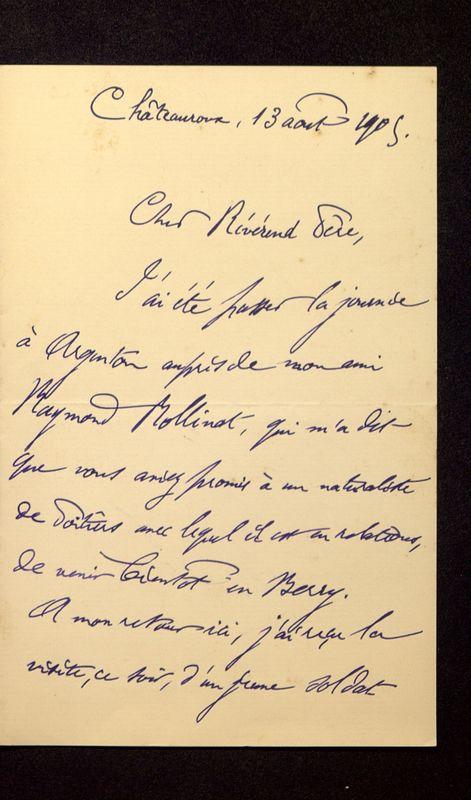Visuel du media #10 - Lettre de Lenseigne à De La Croix du 13 août 1905, page 1
