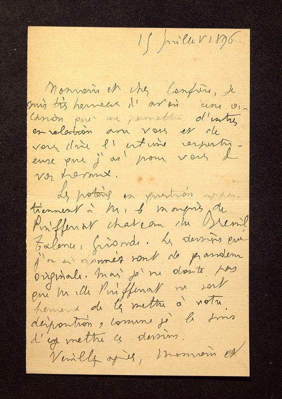 Visuel du media #3 - Lettre de Jullian à De La Croix du 15 juillet 1896, page 1