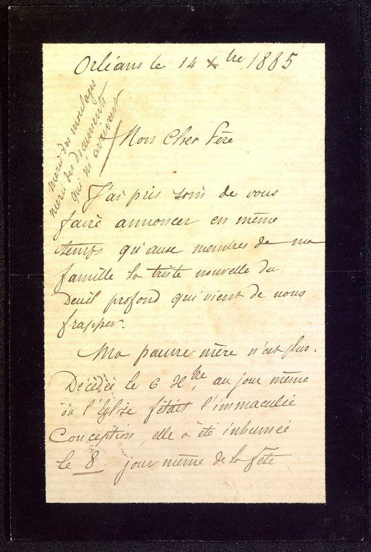 Visuel du media #1 - Lettre de Dumuÿs à De La Croix du 14 décembre 1885, page 1