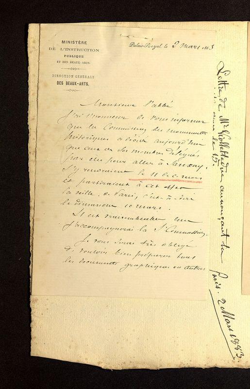 Visuel du media #2 - Lettre de Viollet-le-Duc à De La Croix du 02 mars 1883, page 1