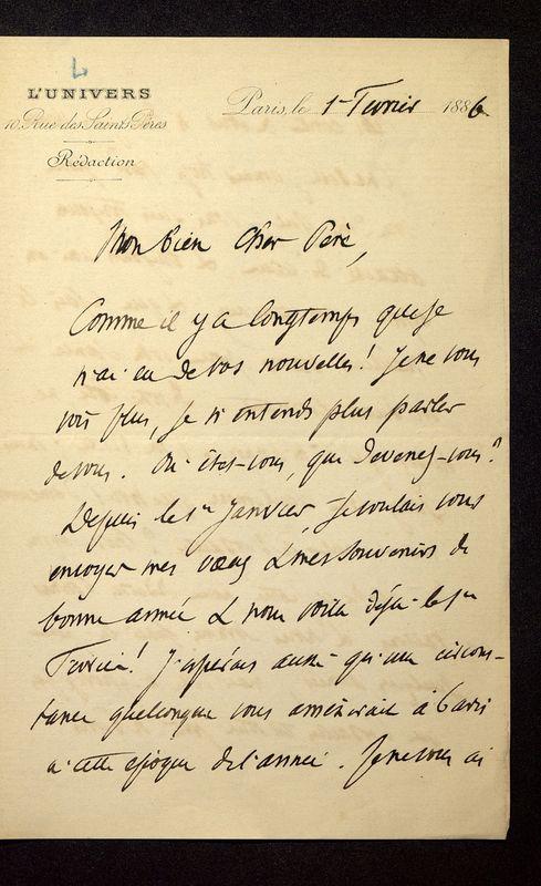 Visuel du media #3 - Lettre de Loth à De La Croix du 01 février 1886, page 1