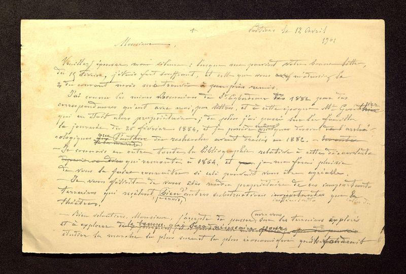 Visuel du media #3 - Lettre de De La Croix à Laporte-Bisquit du 12 avril 1901, page 1