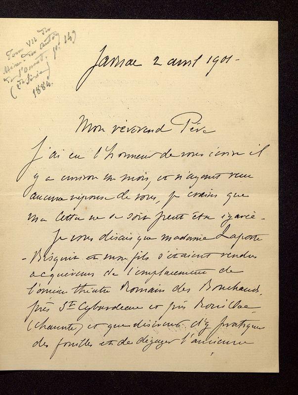 Visuel du document Correspondance avec Maurice Laporte-Bisquit (1901-1910)